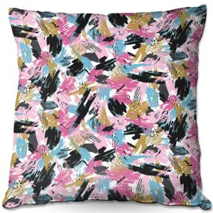 Decorative Outdoor Patio Pillow Cushion | Metka Hiti - Impressionist Strokes Pink | Abstract Brushed Strokes