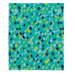 Decorative Fleece Throw Blankets | Metka Hiti - Island Teal Yellow | Pattern checkers abstract repetition