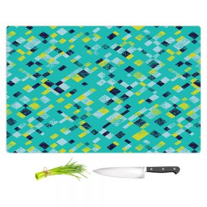 Artistic Kitchen Bar Cutting Boards | Metka Hiti - Island Teal Yellow | Pattern checkers abstract repetition