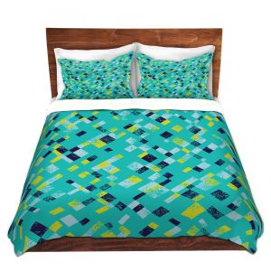 Artistic Duvet Covers and Shams Bedding | Metka Hiti - Island Teal Yellow | Pattern checkers abstract repetition