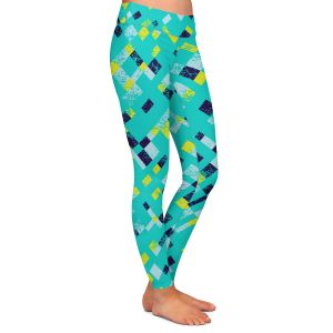 Casual Comfortable Leggings | Metka Hiti - Island Teal Yellow | Pattern checkers abstract repetition