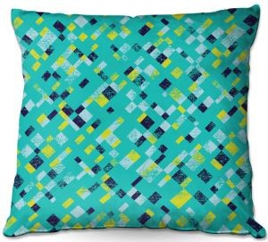 Throw Pillows Decorative Artistic | Metka Hiti - Island Teal Yellow | Pattern checkers abstract repetition