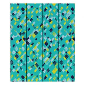 Decorative Wood Plank Wall Art   Metka Hiti - Island Teal Yellow   Pattern checkers abstract repetition