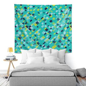Artistic Wall Tapestry | Metka Hiti - Island Teal Yellow | Pattern checkers abstract repetition
