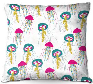 Unique Throw Pillows from DiaNoche Designs by Metka Hiti - Jellyfish Green Pink | 16X16
