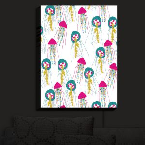 Nightlight Sconce Canvas Light | Metka Hiti - Jellyfish Green Pink