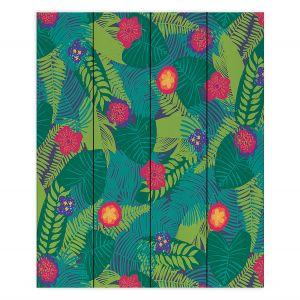 Decorative Wood Plank Wall Art | Metka Hiti - Jungle Flowers | Floral Flowers pattern