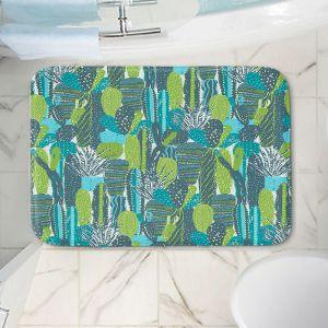 Decorative Bathroom Mats | Metka Hiti - Land of Cacti | Nature desert cactus pattern graphic