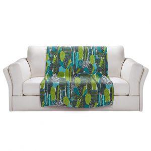 Artistic Sherpa Pile Blankets | Metka Hiti - Land of Cacti | Nature desert cactus pattern graphic