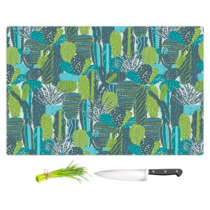 Artistic Kitchen Bar Cutting Boards | Metka Hiti - Land of Cacti | Nature desert cactus pattern graphic