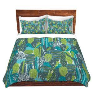 Artistic Duvet Covers and Shams Bedding   Metka Hiti - Land of Cacti   Nature desert cactus pattern graphic