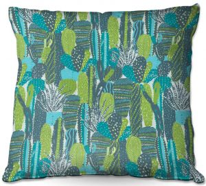 Decorative Outdoor Patio Pillow Cushion | Metka Hiti - Land of Cacti | Nature desert cactus pattern graphic