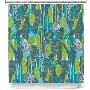 Premium Shower Curtains | Metka Hiti - Land of Cacti | Nature desert cactus pattern graphic