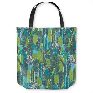 Unique Shoulder Bag Tote Bags | Metka Hiti - Land of Cacti | Nature desert cactus pattern graphic