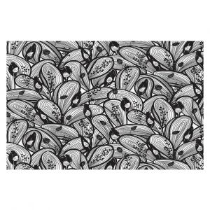 Decorative Floor Covering Mats | Metka Hiti - Leafs and Flowers Black White | Leaves Patterns