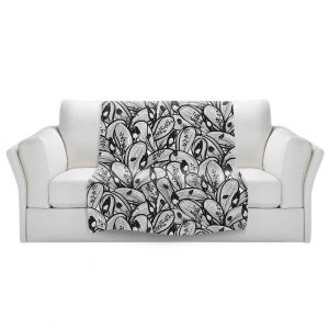 Artistic Sherpa Pile Blankets   Metka Hiti - Leafs and Flowers Black White   Leaves Patterns