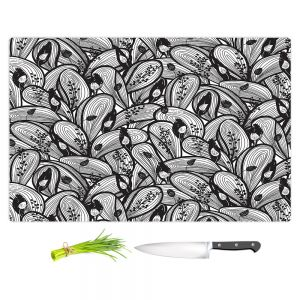 Artistic Kitchen Bar Cutting Boards | Metka Hiti - Leafs and Flowers Black White | Leaves Patterns
