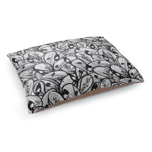 Decorative Dog Pet Beds | Metka Hiti - Leafs and Flowers Black White | Leaves Patterns