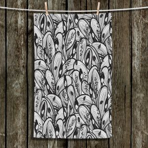 Unique Hanging Tea Towels | Metka Hiti - Leafs and Flowers Black White