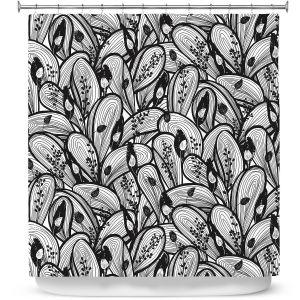 Premium Shower Curtains | Metka Hiti - Leafs and Flowers Black White