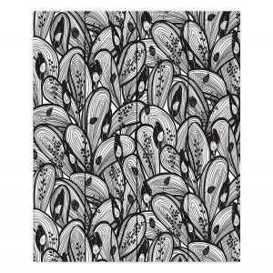 Decorative Wood Plank Wall Art | Metka Hiti - Leafs and Flowers Black White | Leaves Patterns