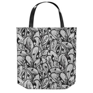 Unique Shoulder Bag Tote Bags | Metka Hiti - Leafs and Flowers Black White | Leaves Patterns