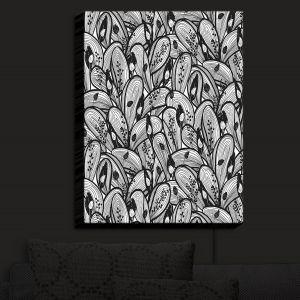 Nightlight Sconce Canvas Light | Metka Hiti - Leafs and Flowers Black White | Leaves Patterns