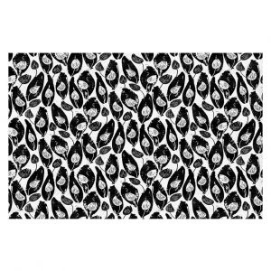 Decorative Floor Covering Mats | Metka Hiti - Leafs and Flowers Inside BW | Leaves Patterns