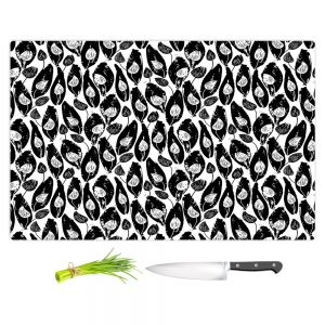 Artistic Kitchen Bar Cutting Boards | Metka Hiti - Leafs and Flowers Inside BW | Leaves Patterns