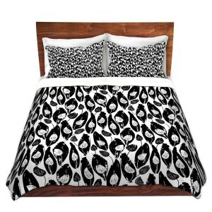 Artistic Duvet Covers and Shams Bedding | Metka Hiti - Leafs and Flowers Inside BW | Leaves Patterns