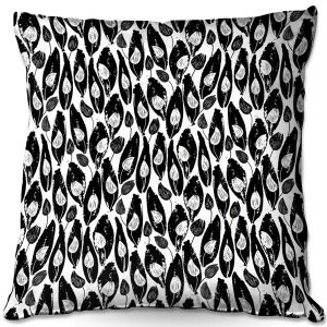 Decorative Outdoor Patio Pillow Cushion | Metka Hiti - Leafs and Flowers Inside BW | Leaves Patterns