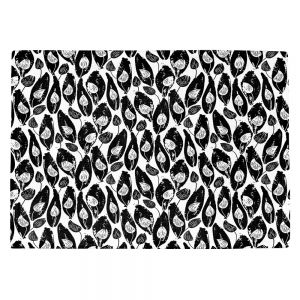 Countertop Place Mats | Metka Hiti - Leafs and Flowers Inside BW | Leaves Patterns
