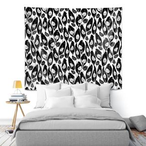 Artistic Wall Tapestry   Metka Hiti - Leafs and Flowers Inside BW   Leaves Patterns
