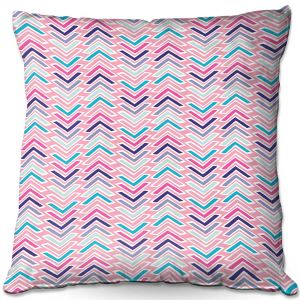 Decorative Outdoor Patio Pillow Cushion | Metka Hiti - Line Flowers Arrows | Floral Flowers pattern