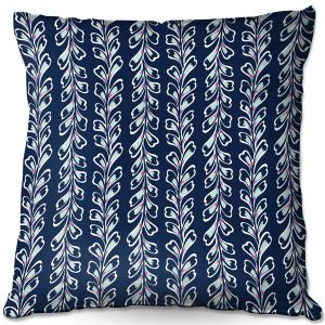 Decorative Outdoor Patio Pillow Cushion   Metka Hiti - Lined Flowers   Floral Flowers pattern