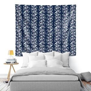 Artistic Wall Tapestry | Metka Hiti - Lined Flowers | Floral Flowers pattern