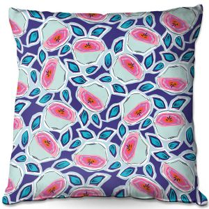 Decorative Outdoor Patio Pillow Cushion | Metka Hiti - Line Flowers Vine | Floral Flowers pattern