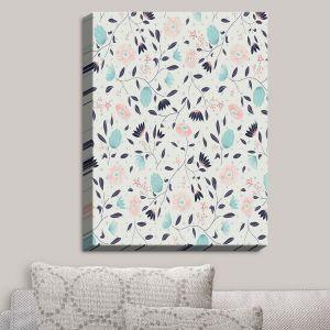 Decorative Canvas Wall Art | Metka Hiti - Midnight Bloom Blue Pink | Flowers