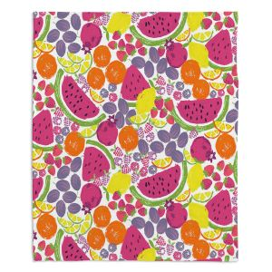 Decorative Fleece Throw Blankets | Metka Hiti - Mixed Fruit | Nature food healthy pattern graphic grape strawberry lime lemon orange watermelon pomegranate raspberry blackberry