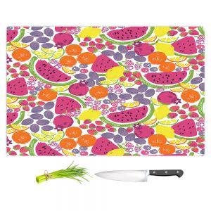Artistic Kitchen Bar Cutting Boards | Metka Hiti - Mixed Fruit | Nature food healthy pattern graphic grape strawberry lime lemon orange watermelon pomegranate raspberry blackberry