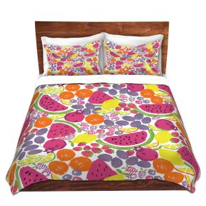 Artistic Duvet Covers and Shams Bedding | Metka Hiti - Mixed Fruit | Nature food healthy pattern graphic grape strawberry lime lemon orange watermelon pomegranate raspberry blackberry