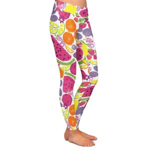Casual Comfortable Leggings | Metka Hiti - Mixed Fruit | Nature food healthy pattern graphic grape strawberry lime lemon orange watermelon pomegranate raspberry blackberry