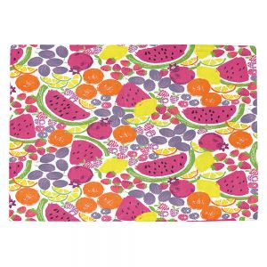 Countertop Place Mats | Metka Hiti - Mixed Fruit | Nature food healthy pattern graphic grape strawberry lime lemon orange watermelon pomegranate raspberry blackberry