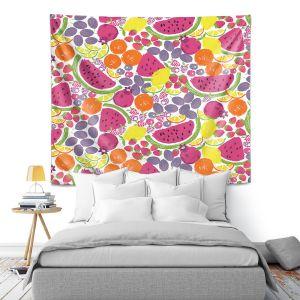 Artistic Wall Tapestry | Metka Hiti - Mixed Fruit | Nature food healthy pattern graphic grape strawberry lime lemon orange watermelon pomegranate raspberry blackberry