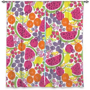 Decorative Window Treatments | Metka Hiti - Mixed Fruit | Nature food healthy pattern graphic grape strawberry lime lemon orange watermelon pomegranate raspberry blackberry