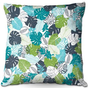 Decorative Outdoor Patio Pillow Cushion | Metka Hiti - Monstera | Leaves Patterns