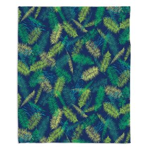Decorative Fleece Throw Blankets | Metka Hiti - Palm Leafs Green | Leaves Patterns