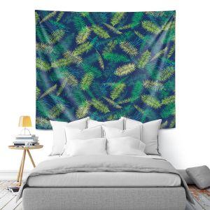 Artistic Wall Tapestry   Metka Hiti - Palm Leafs Green   Leaves Patterns