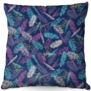 Decorative Outdoor Patio Pillow Cushion | Metka Hiti - Palm Leafs Purple | Leaves Patterns