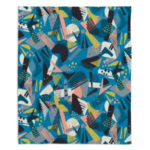 Decorative Fleece Throw Blankets | Metka Hiti - Patch Work Geos | Abstract shapes pattern triangles arrows etches